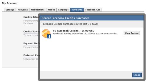 Facebook Credits Screen