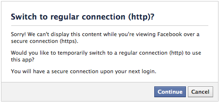 Facebook Switch to http prompt
